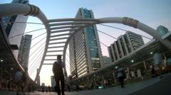 Sathorn bridge intersection at night , time lapse , Bangkok Landmark , Thailand Stock Footage