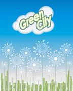 Green City, Way to the Future, Vector illustration Piirros