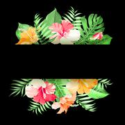 Tropical flower garland Stock Illustration