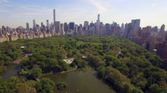 Flying above the Cental park in New york city. Amazing aerial picture. (120 m) Stock Footage