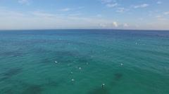 Blue Ocean and Sky Aerial Fly Through a Flock Seagulls and Birds - stock footage