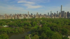 Flying above the Cental park in New york city. Amazing aerial picture. (80 m) Stock Footage