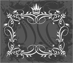 Decorative frame with crown - stock illustration