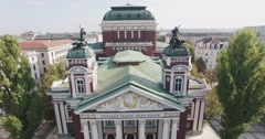 Theatre Building Aerial Classic Architecture Stock Footage