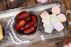 Turkish delights with tasbih - stock photo