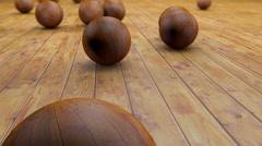 Fantasy realistic wood balls on a realistic wood floor floor - stock footage