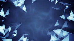Glass triangles flying. Seamless loop 3d render animation 4k (4096x2304) - stock footage