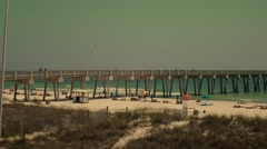 Day At The Beach - Gulf of Mexico Fishing Pier - stock footage