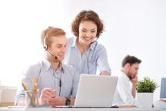 Positive colleagues working in the office Stock Photos