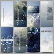 Set of modern flyers. DNA molecule structure on dark blue background. Science Stock Illustration