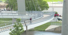 Pedestrian Bridge over Des Moines River - 4k Stock Footage