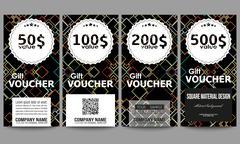 Set of modern gift voucher templates. Material Design. Colored vector background - stock illustration