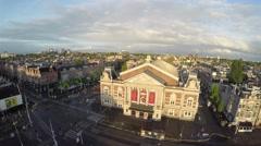 Short aerial Amsterdam Museumplein Koninklijk Concertgebouw 4k Stock Footage