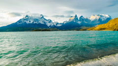 Evening view of mountain and Lake Pehoe in Torres Del Paine National Park Stock Footage