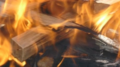 Burning wood. Spurts of flame and live coals Stock Footage