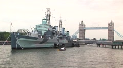 HMS Belfast and tower bridge Stock Footage