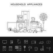 Household appliance line illustration. Stock Illustration