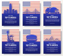 Set of USA country ornament illustration concept. Art traditional, poster, book - stock illustration