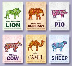 Art wild animals brochure cards. Jungle template of flyear, magazines, posters - stock illustration
