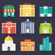 Flat colorful vector sity buildings set. Icon background concept design Stock Illustration