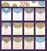 Calendar vector. Calendar eps. Calendar pic. Calendar print. Calendar floral Stock Illustration