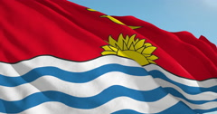 Beautiful looping flag blowing in wind: Kiribati Stock Footage