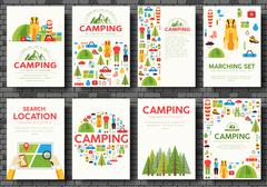 Camping trip cards set. Hiking template of flyear, magazines, posters, book - stock illustration