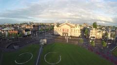 Aerial Amsterdam Museumplein Concertgebouw popular tourist attraction 4k Stock Footage