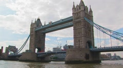 Sailing by the Tower Bridge Stock Footage