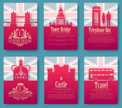 Set of England country ornament illustration concept. Art traditional, poster - stock illustration