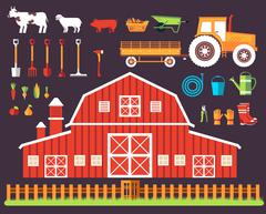 Flat farm in village set sprites and tile sets. instruments, flowers, vegetables - stock illustration