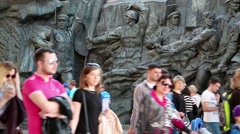 People in national museum of the history of Ukraine in the Second World War Stock Footage