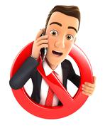 3d businessman on phone surrounded by a forbidden sign Stock Illustration