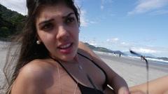 Brazilian Girl Enjoying a Summer Day in a Beach in Brazil in Slow Motion Stock Footage
