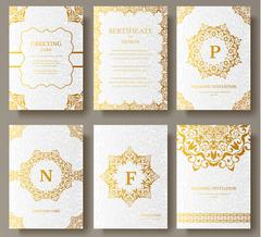 Set of Luxury Gold artistic pages set with logo brochure template. Vintage art Stock Illustration