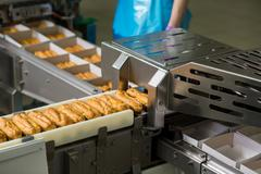 Conveyor and boxes of eclairs. Stock Photos