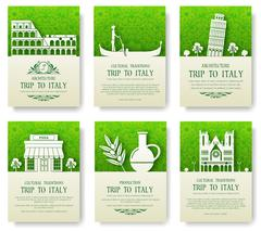 Set of Italy country ornament illustration concept. Art traditional, poster - stock illustration