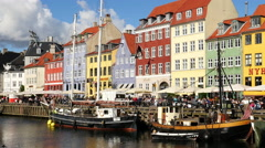 Time Lapse Zoom of Scenic Nyhavn District Day  - Copenhagen Stock Footage