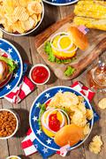 Homemade Memorial Day Hamburger Picnic Stock Photos