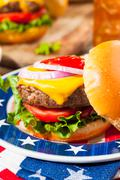 Homemade Memorial Day Hamburger Picnic Stock Photos