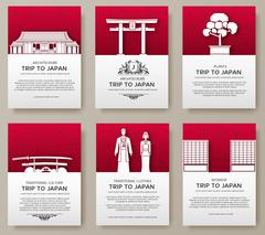 Set of Japan country ornament illustration concept. Art traditional, poster - stock illustration