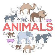Zoo circle. Zoo animals. Zoo image. Zoo picture. Zoo jpg. Zoo eps. Zoo set. Zoo - stock illustration