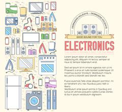 Home electronics appliances circle infographics template concept. Icons design Stock Illustration