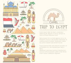 Country Egypt travel vacation guide of goods, places and features. Set of - stock illustration