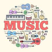 Music instruments circle concept. Icons design for your product or design, web - stock illustration