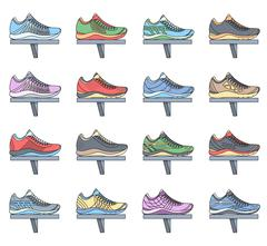 big flat illustration collection set of sneakers running, walking, shopping - stock illustration