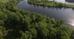 Spring Nature - island and tributaries of the Dnieper River near Kiev in Ukraine Stock Footage