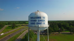 Stony Creek VA water tower fly over - stock footage