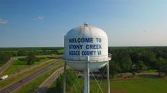 Stony Creek VA water tower fly over Stock Footage