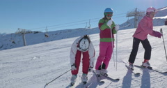 WS 4K: Teen Girls Prepare for Skiing Stock Footage